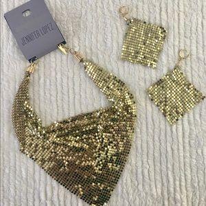 NWT Jennifer Lopez Gold Metal Necklace Set